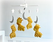 Giraffe baby mobile - nursery decor - You pick your colors - custom made - stars, moons, sleepy giraffes - LullabyMobiles