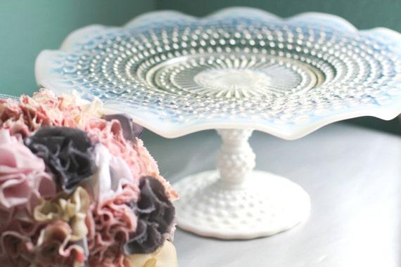 Cake Stand / Milk Glass Cake Stand Pedestal / Cupcake Stand / Truffle Pedestal Dessert Pedestal / Cookie Platter for Custom Wedding Cookies