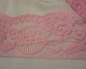Bright Pink Floral Lace 2.5 inches wide 3 Yards