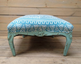 Vintage Ottoman Footstool Upholstered in Turquoise Mudcloth Print