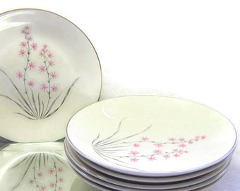 6  Mid Century modern Pink Silver Simple Floral Flower Large Bowls Ovington's Fifth Ave China Wedding Cottage Shabby Chic Housewares Serving