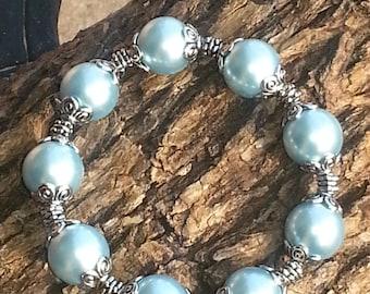Blue Glass Pearl Stretch Bracelet