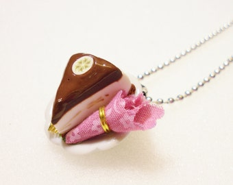 Chocolate Cheesecake Pendant. Polymer Clay.