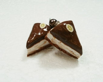 Chocolate Cheesecake earrings. Polymer clay.