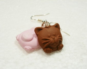 Chocolate Animal Earrings. Polymer Clay.
