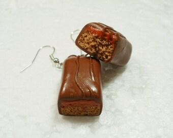Milk Chocolate Caramel Bar Earrings. Polymer Clay.