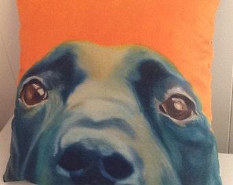dog cushion, labrador dog, image of an original oilpaintingfaux suede finish, orange background