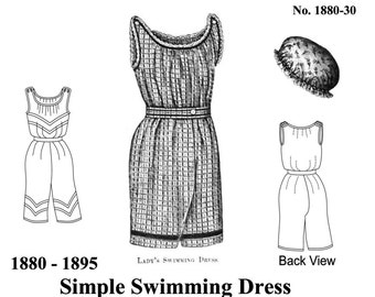 Victorian Bathing Suit Pattern, Easy Historical Multi Size Sewing Pattern - 1880-30