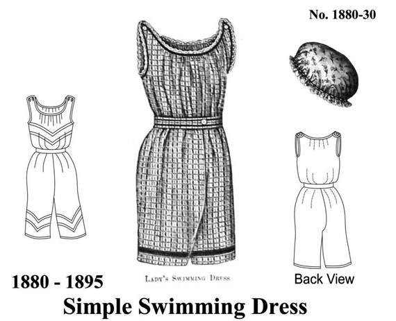 Victorian Bathing Suit Pattern Easy Historical Multi Size