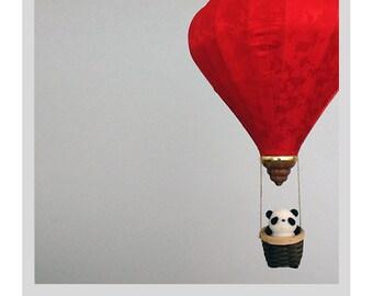 Needle Felted Baby Mobile / Nursery Decor - Panda Air Balloon