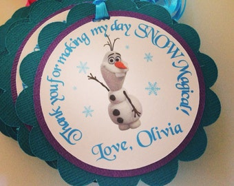 Olaf favor tags, Frozen Birthday favor tags, frozen happy birthday, disney frozen birthday tags