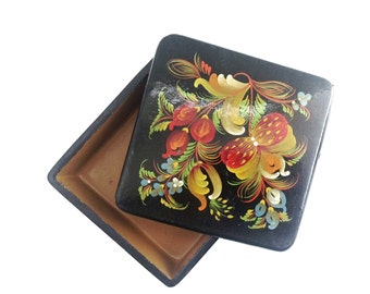BOX Beautiful VINTAGE FLORAL container  . Use it for food storage, shadow boxes, assemblage...