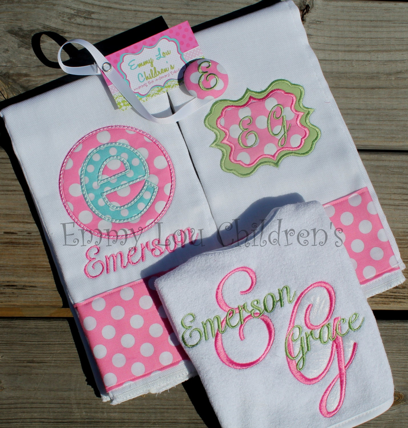 Personalised Baby Gift Sets : Personalized baby gift set of two monogrammed burp