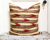 GOMIS Sparrow Crimson: African Wax Print Pillow Covers