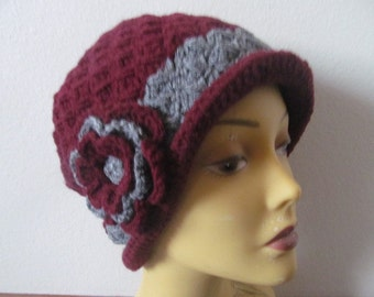 Burgundy Gray Cloche Hat With Flower, Usa Seller