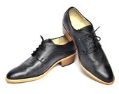 balck derby oxford brogue shoes with cuban heel - FREE WORLDWIDE SHIPPING