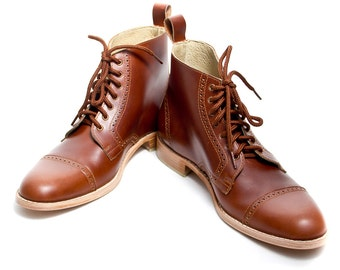 Unisex brown leather bespoke oxford boots FREE WORLDWIDE SHIPPING