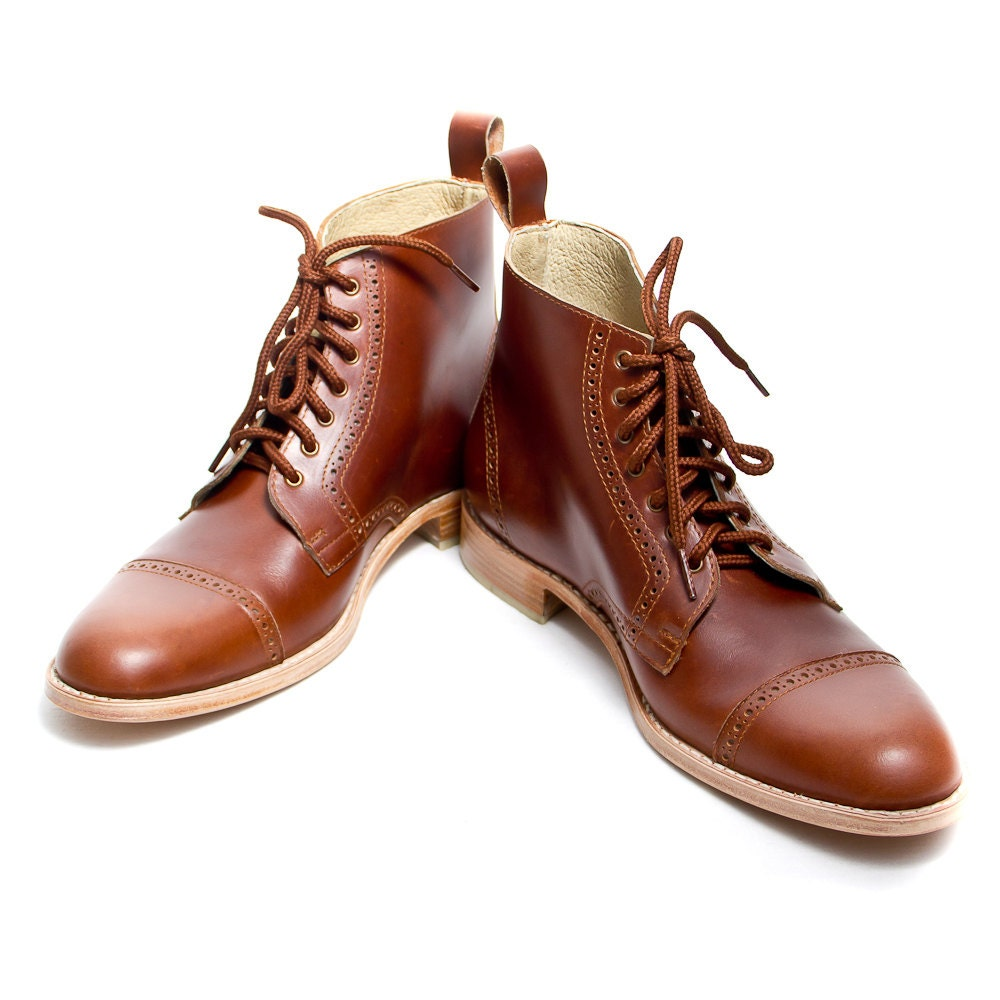 Unisex brown leather bespoke oxford boots free by goodbyefolk for What is bespoke leather