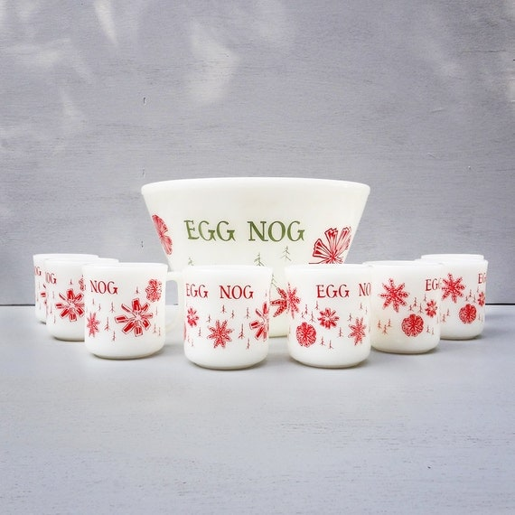 Vintage Eggnog Set, Egg Nog Punch Bowl and Cups, Fire King, Snowflake, Red and Green, Christmas