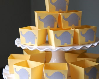 Elephant Candy Cups, Elephant Baby Shower, Elephant Decorations, Nut Cups, Elephant Favors, Party, 12 Pcs, Pastel Yellow