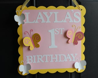 Butterfly Door Sign, Butterfly Welcome Sign, Butterfly Birthday Party, Butterfly Party Decorations, Welcome Sign, Pink Yellow