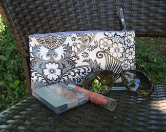 Zippered Oil Cloth Pouch-White with Black Paisley Cosmetic Bag--Purse Organizer