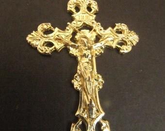 Italian Made Gold Large Fleur de Lis Rosary Crucifix