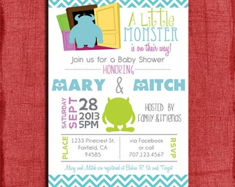 Printable Monsters Inspired Baby Shower  4x6 or 5x7 Invitation-DIY
