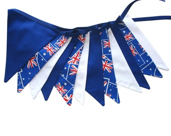 Australia Day Patriotic Flag Bunting. Party, Shop, Banner Decoration or Boys Bedroom Pennant .  Australian Hand Made