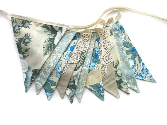 Vintage Retro 'Blue/Ivory Floral' Flag Bunting. Wall hanging, Decoration Banner for Parties, Market Stall Pennant, etc. Upcycled fabric