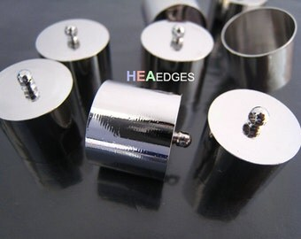 2pcs Silver End Caps 17mm - Findings Silver Plated Very Large Leather Cord Ends Cap with Loop 19mm x 18mm