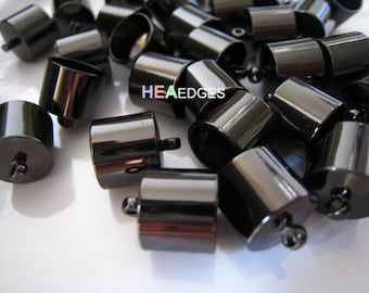 End Caps 10mm - Findings 4pcs Gunmetal Black End Cap Large Leather Cord Ends Caps with Loop 14mm x 11mm ( inside 10mm Diameter )