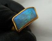 Australian solid crystal Opal 22k solid gold ring