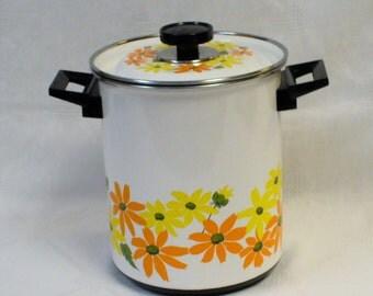 Vintage Mid Century Ekco Country Garden Porcelain Clad Cookware Asparagus Vegetable Steamer Italy
