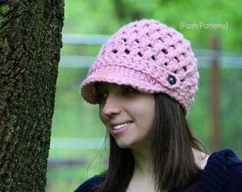 Crochet PATTERN - Crochet Hat Pattern - Crochet Newsboy Hat Pattern - Crochet Pattern Women - Includes Toddler, Child, Adult Sizes - PDF 322
