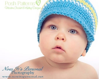 Crochet PATTERN - Newsboy Visor Hat - Crochet Hat Pattern - PDF 112 - Includes 6 Sizes Newborn to Adult - Photo Prop Patterns