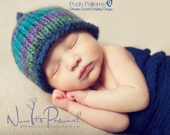 Knitting PATTERN - Easy Knit Hat Pattern - Knit Baby Hat Pattern - Knitting Patterns for Babies - 3 Sizes Newborn to 12 Months - PDF 228