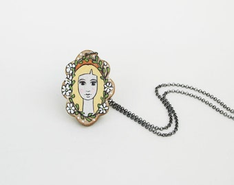 Long Necklace Vintage Inspired Necklace Hand Painted Girl Necklace Pastel Colors