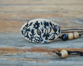 Wood Necklace Hand Painted Oval Necklace Black Flowers