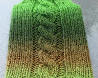 Hand knit Kindle Cabled Case - Green and Brown