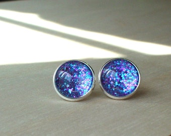 20% OFF -- Glittering Blue/Purple multi color Stud earrings,elegant and cute gift for her