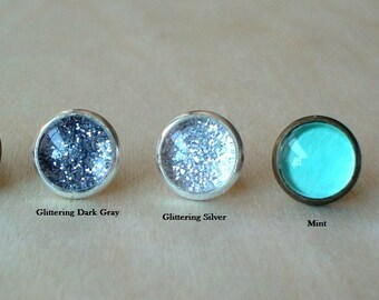 20% OFF - 10mm Small Stud Earrings , Teal/Blue/Silver/gray/Mint ( 5 color choices)