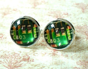20% OFF -- 16 mm Green computer chip Cuff Links ,Mens Accessories, Perfect Gift Idea