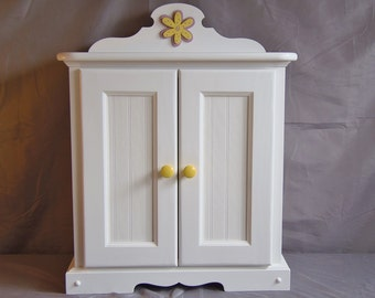 Doll Armoire for American girl doll with Wooden Flower Applique
