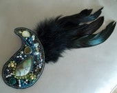 Hair accessory and brooch. Two-in-one accessory. Bead embroidery brooch with black feather.