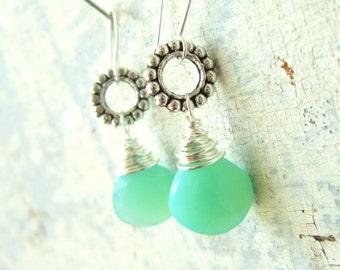 Chalcedony Drop Earrings. Aquamarine Chalcedony Dangle Earrings. Wire Wrapped Briolette Earrings. Chalcedony Jewelry