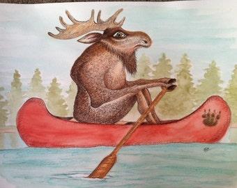 Moose Paddling Canoe - 8in x 10in print of watercolor painting