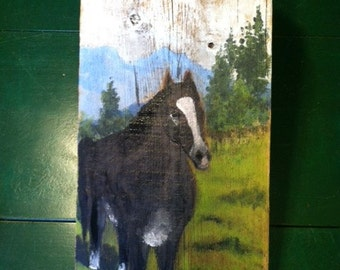 Horse and Landscape 9 1/2in x 20in acrylic painting on barn wood