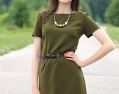 Simple Casual Style Dress / Khaki Green / Armie Green Handmade Dress with Open Back fit for M sized Women