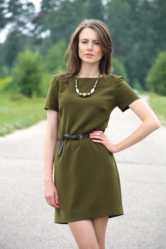 Items similar to Simple Casual Style Dress / Khaki Green ...